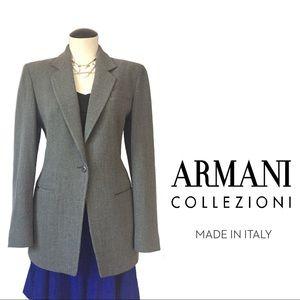 ARMANI Collezioni wool-blend pinstripe blazer🐑